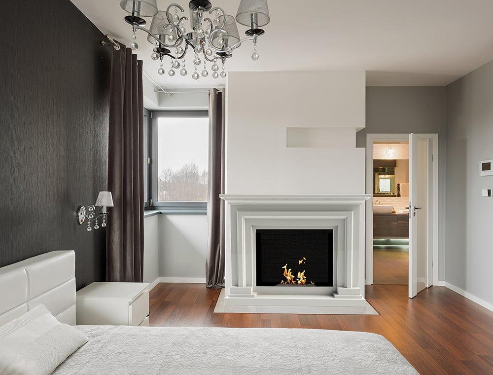 chemin e thanol contemporaine blanche charm. Black Bedroom Furniture Sets. Home Design Ideas